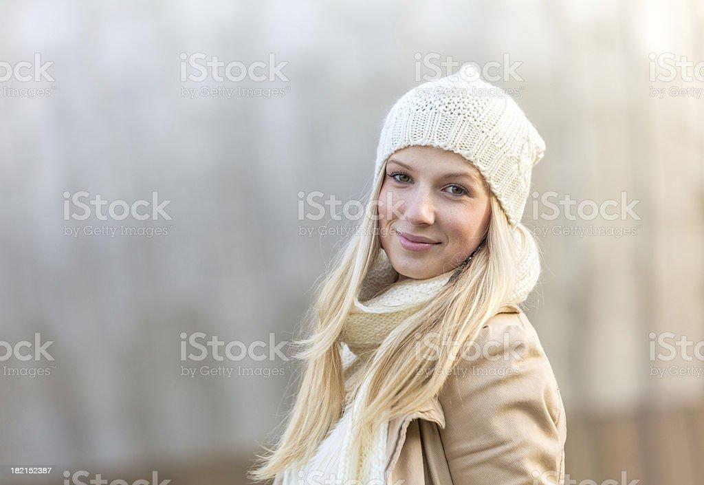 happy winter girl stock photo