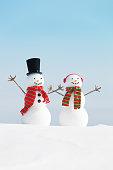 Happy Winter Snowman Christmas Couple in Snow Scene