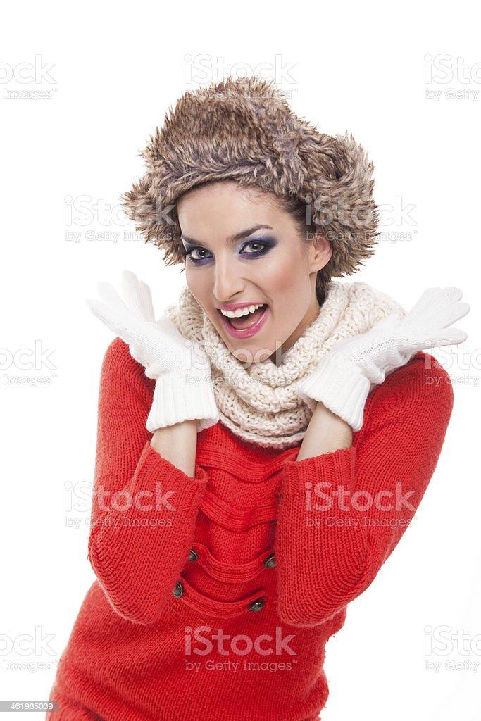 Happy winter woman. stock photo