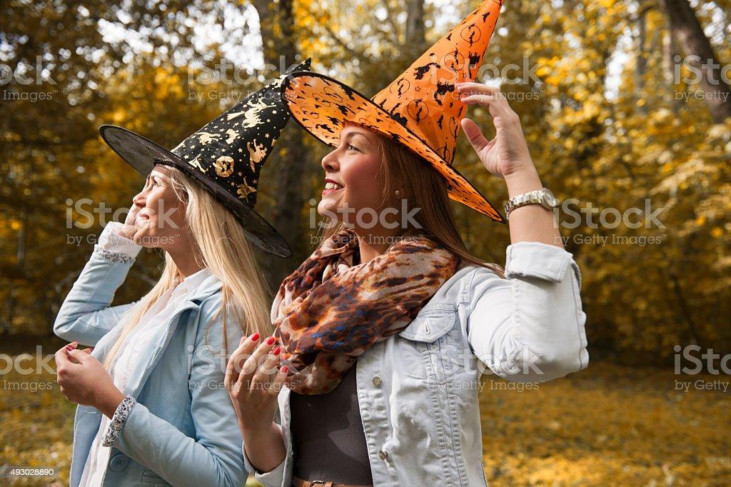 Happy witches stock photo