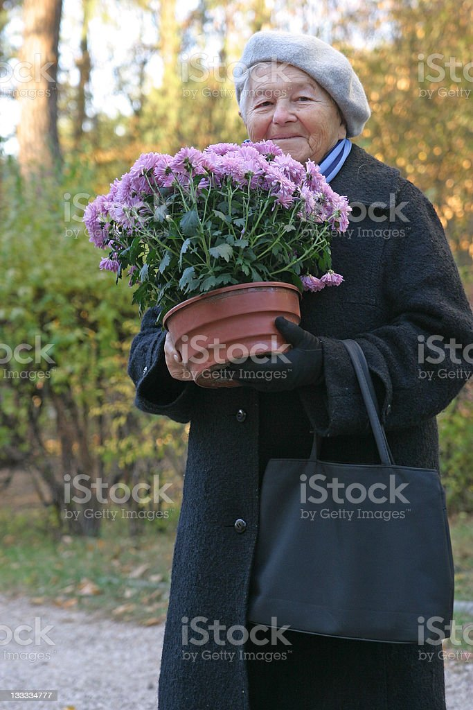 Happy with flowers royalty-free stock photo