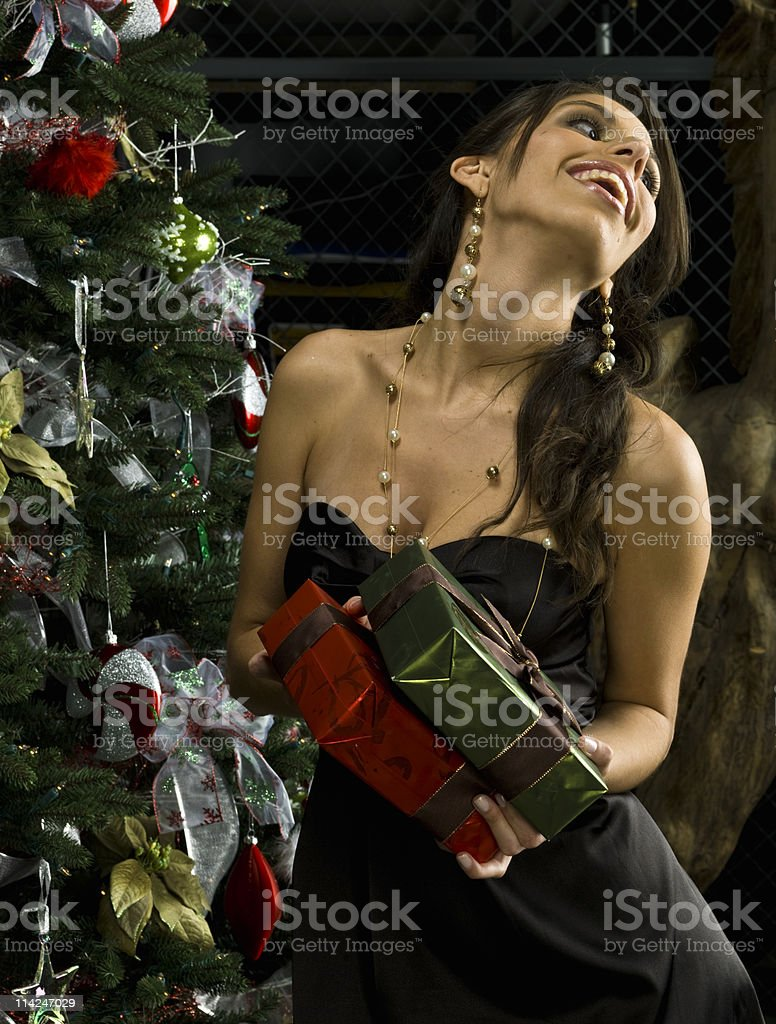 Happy with her Christmas presents royalty-free stock photo