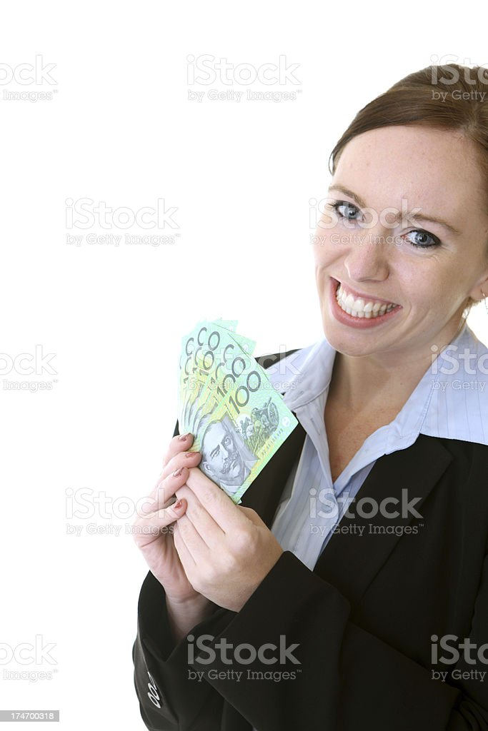 Happy with Money royalty-free stock photo