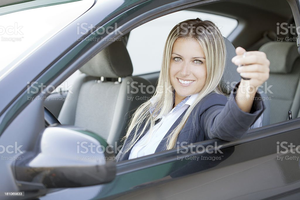 happy with new car royalty-free stock photo