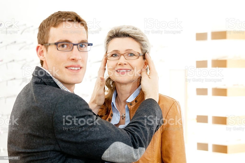 happy with new eyeglasses royalty-free stock photo