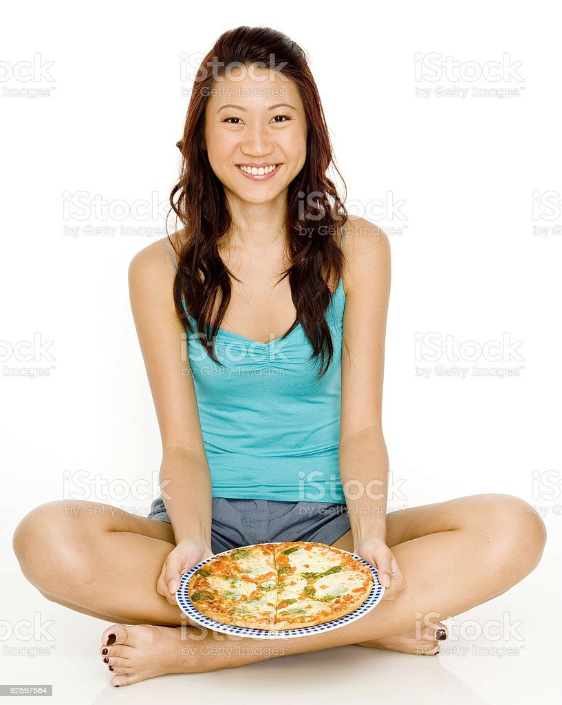 Happy With Pizza royalty-free stock photo