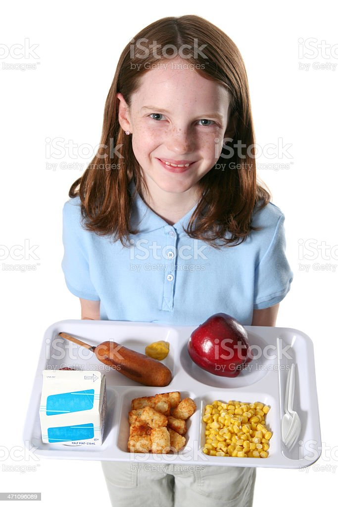 Happy with School Lunch royalty-free stock photo