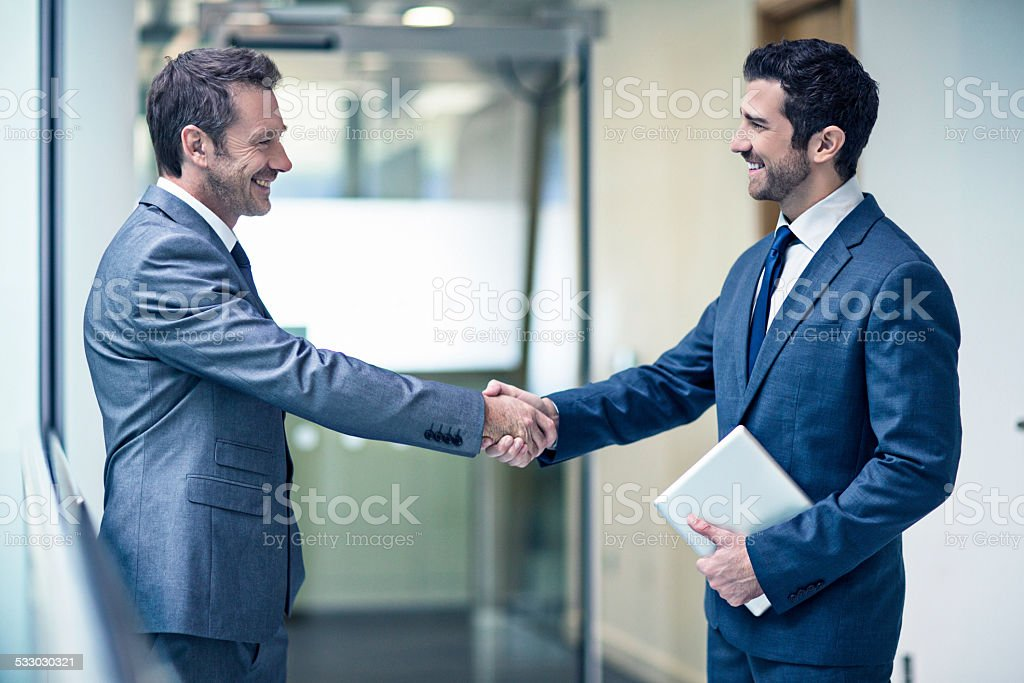 Happy with the agreement stock photo