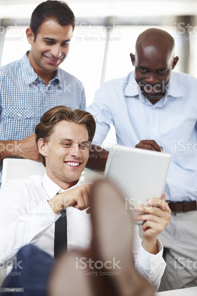 Happy with their investments stock photo