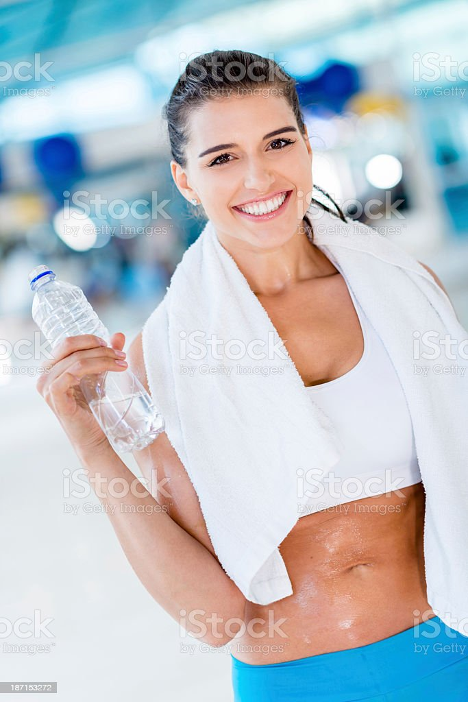 Happy woman after workout royalty-free stock photo