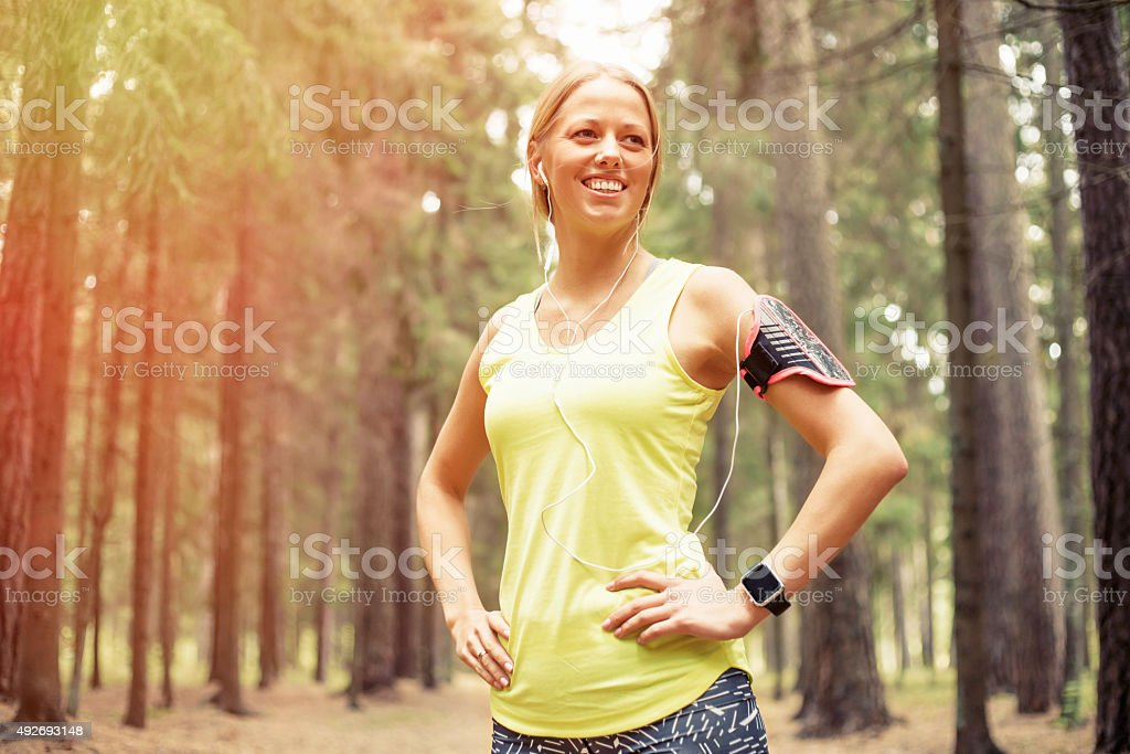 Happy woman after workout stock photo