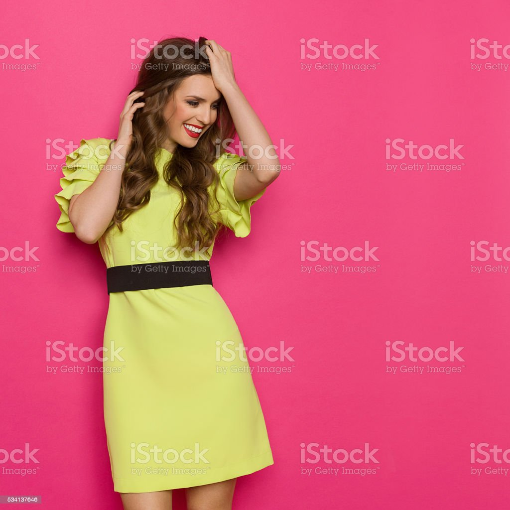 Happy Woman Against Pink Background stock photo