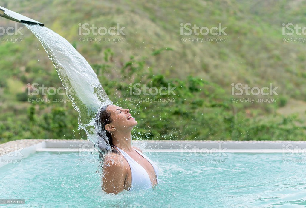 Happy woman at the spa stock photo