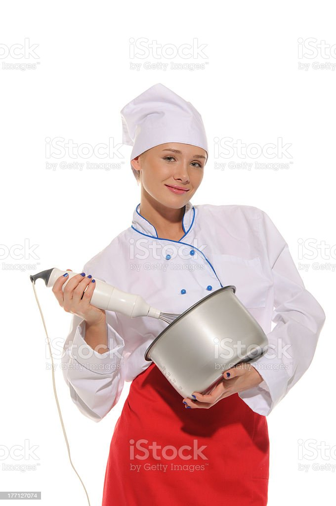 happy woman chef  with blender and pot royalty-free stock photo