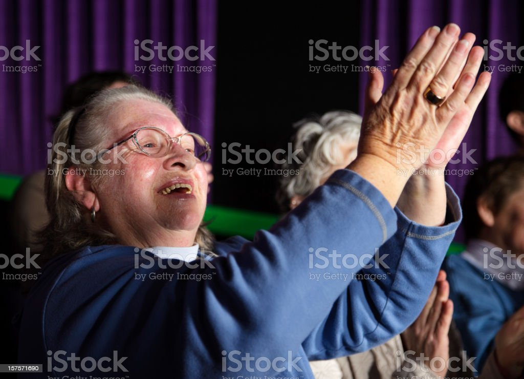 Happy Woman Clapping stock photo