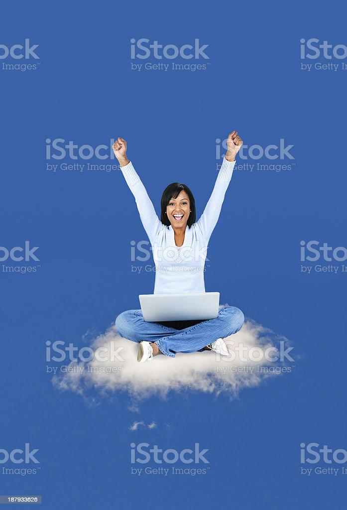 Happy woman computing on cloud royalty-free stock photo