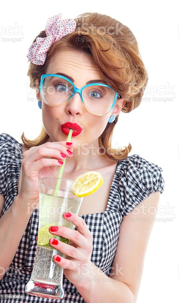 Happy woman drinking juice or cocktail royalty-free stock photo