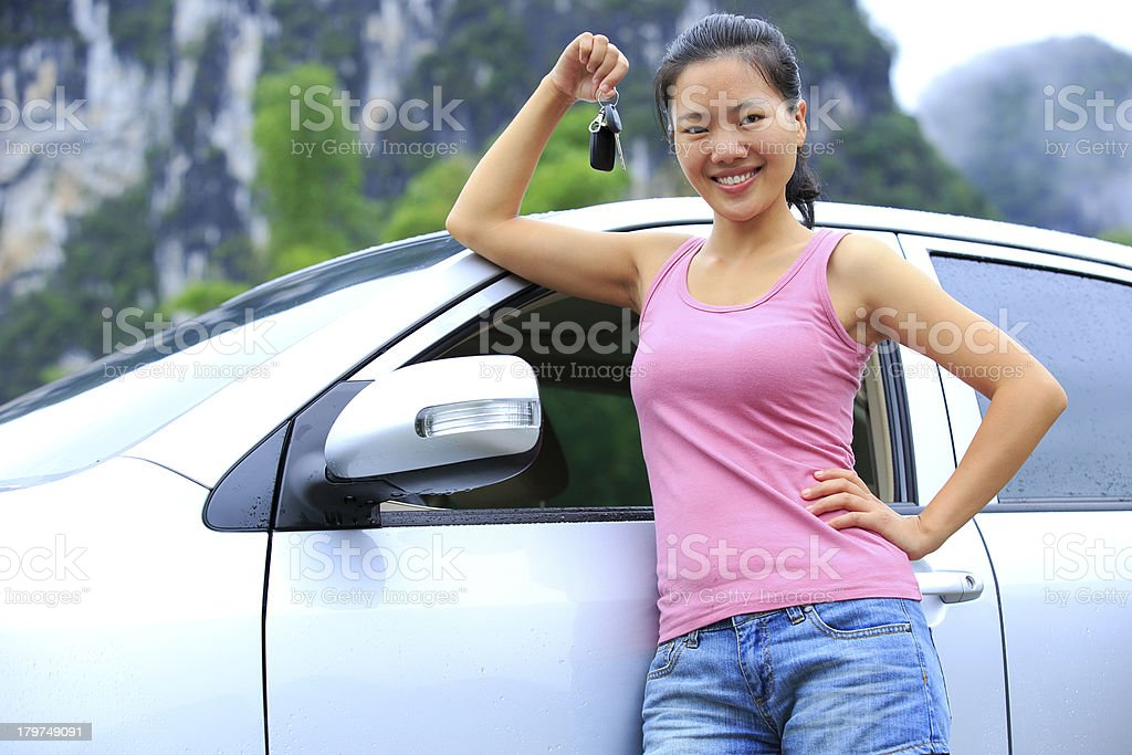 happy woman driver with her first car stock photo