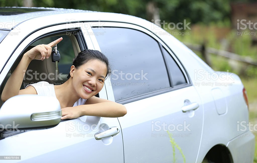 happy woman driver with her new car stock photo