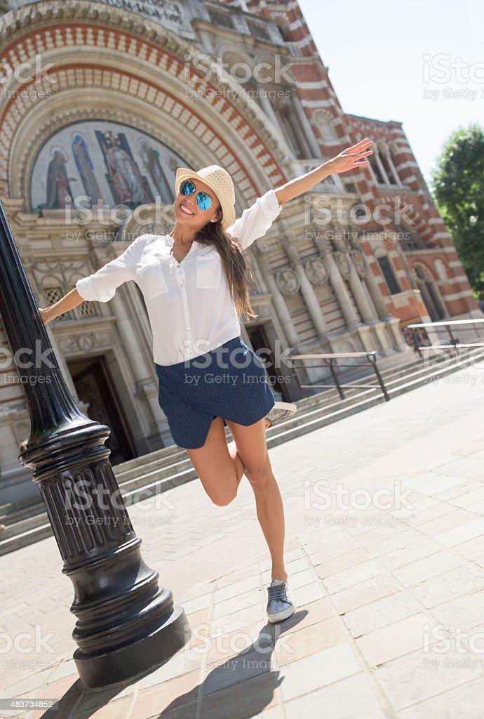 Happy woman enjoying her summer holidays stock photo