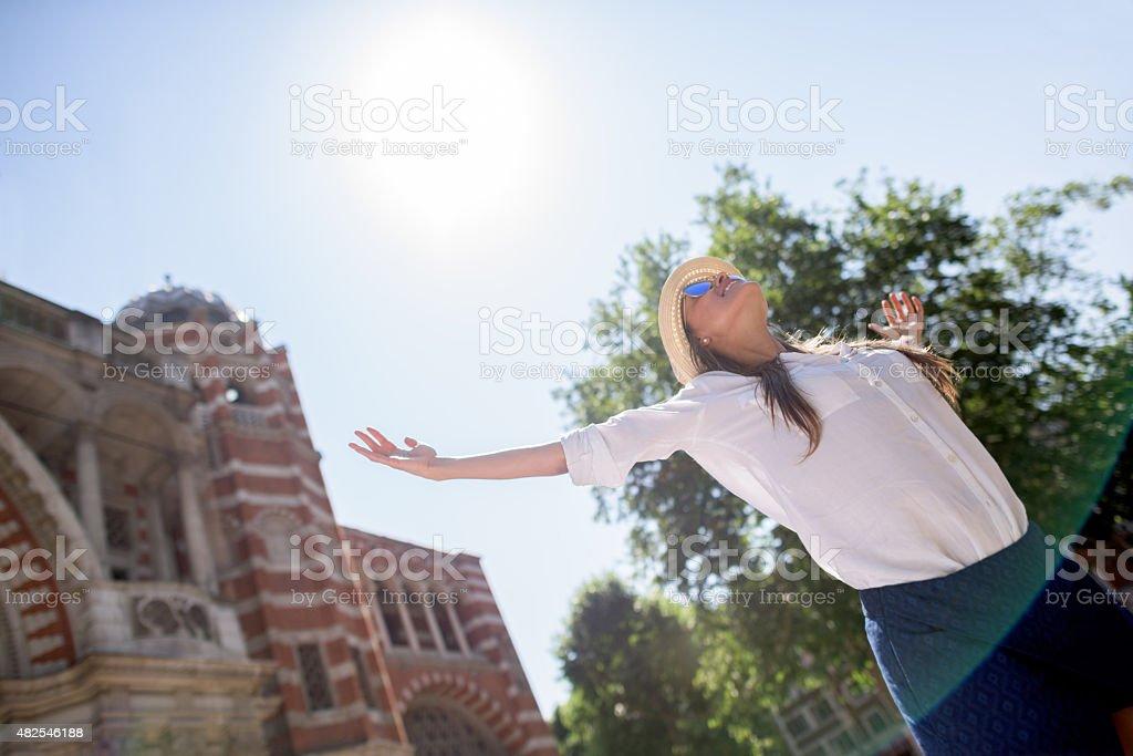Happy woman enjoying the summer stock photo