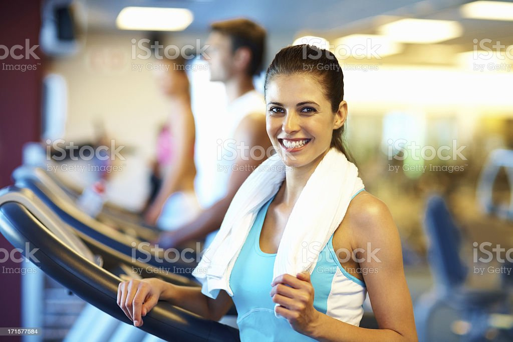 Happy woman finished her workout royalty-free stock photo