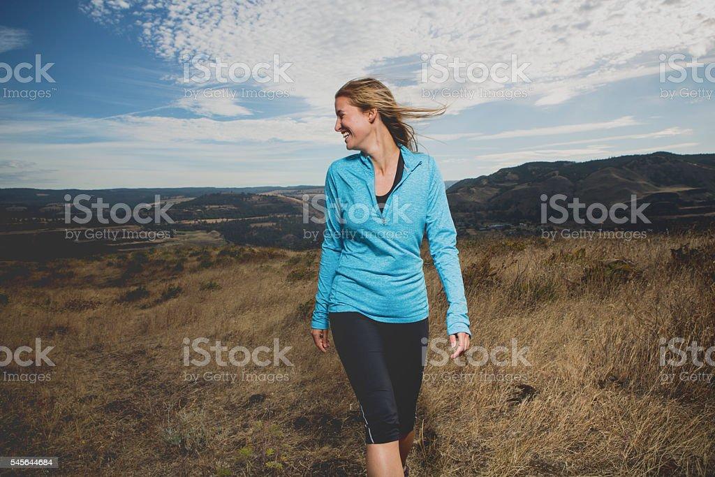 Happy Woman Hiking stock photo