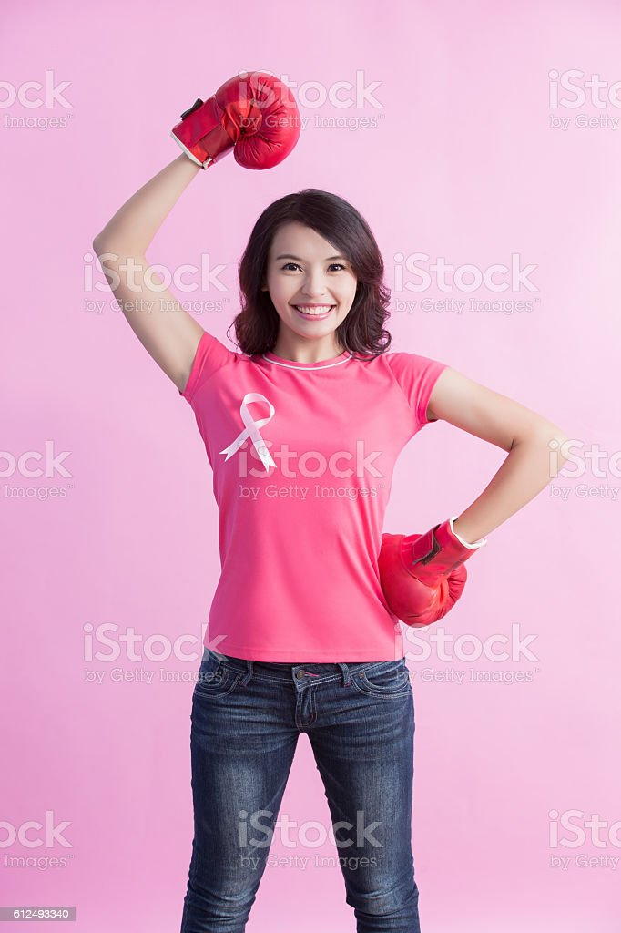Happy woman hold boxing stock photo