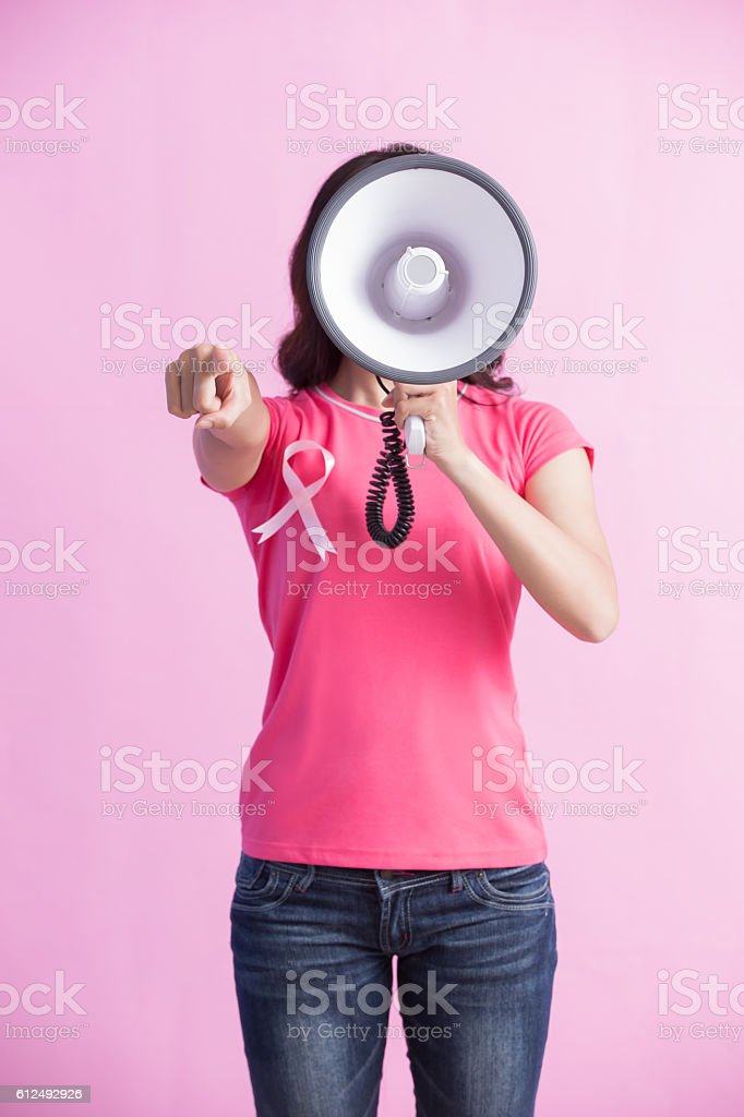 Happy woman hold microphone stock photo