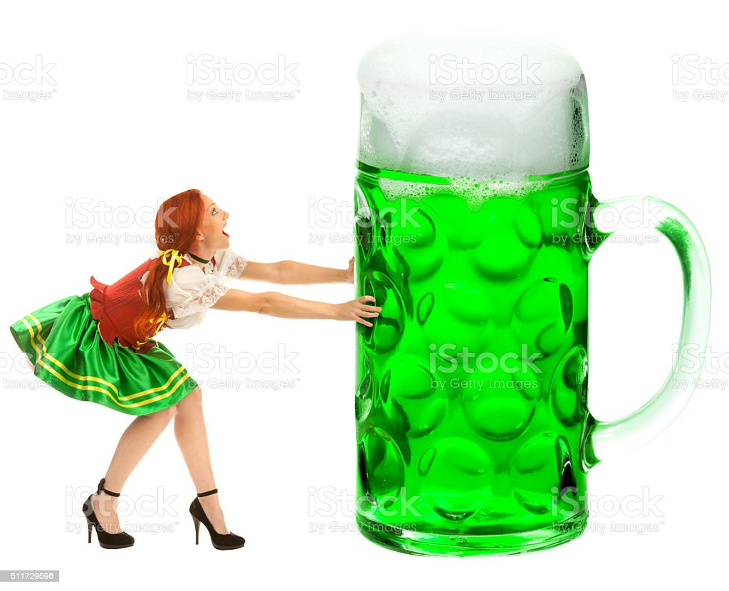 Happy Woman  Holding  a Giant Beer Glass stock photo