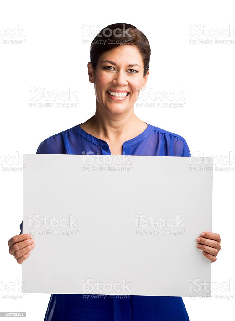 Happy woman holding a sign stock photo