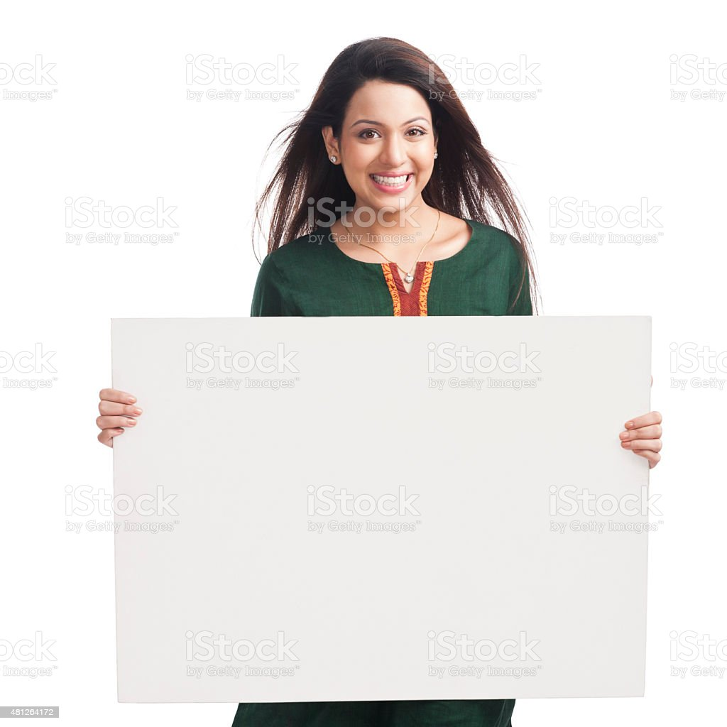 Happy woman holding a whiteboard stock photo