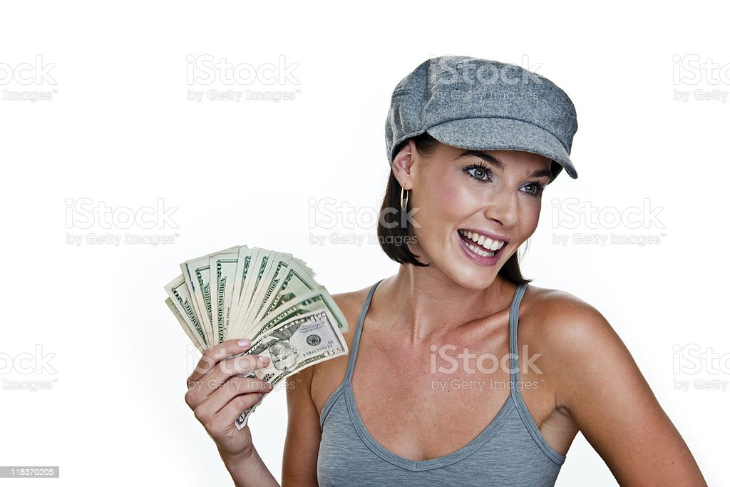 Happy woman holding cash royalty-free stock photo