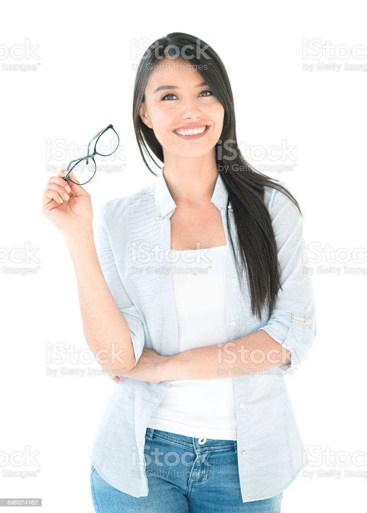 Happy woman holding glasses stock photo