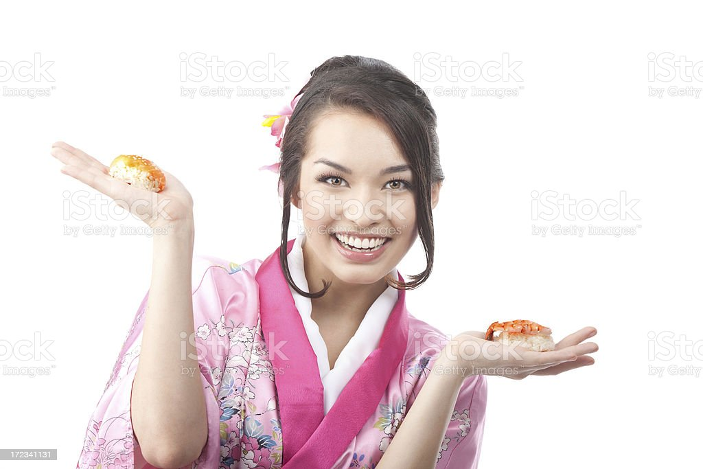 Happy Woman Holding Sushi on her Hands royalty-free stock photo