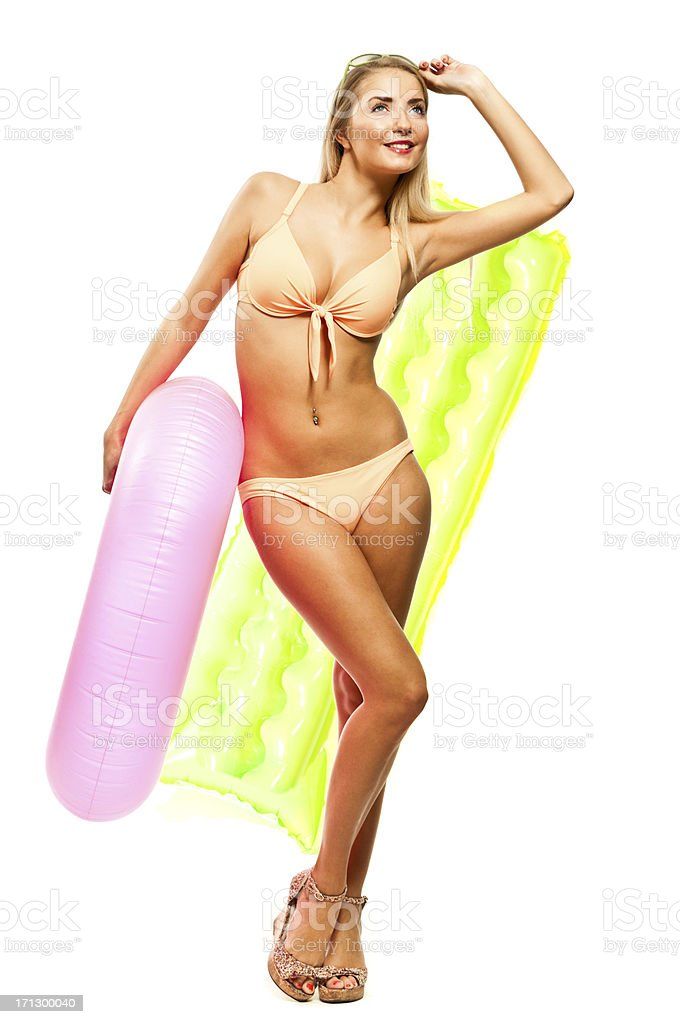 Happy woman in bikini with rafts isolated royalty-free stock photo