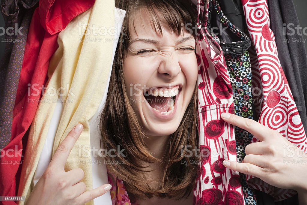 happy woman in different dresses stock photo