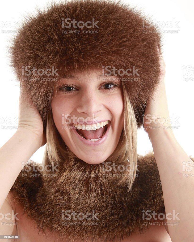 Mujer feliz en la piel foto de stock libre de derechos