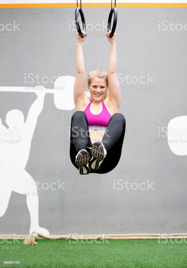 happy woman in gym stock photo