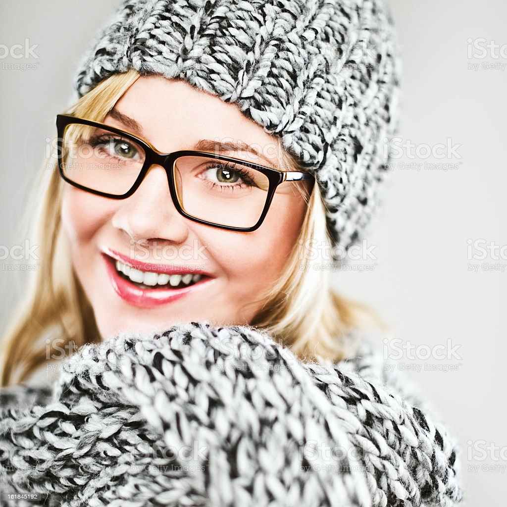 Happy woman in hat and scarf royalty-free stock photo