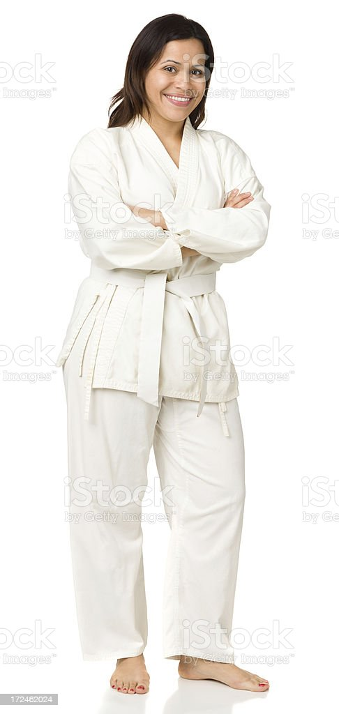 Happy Woman In Karate Outfit royalty-free stock photo