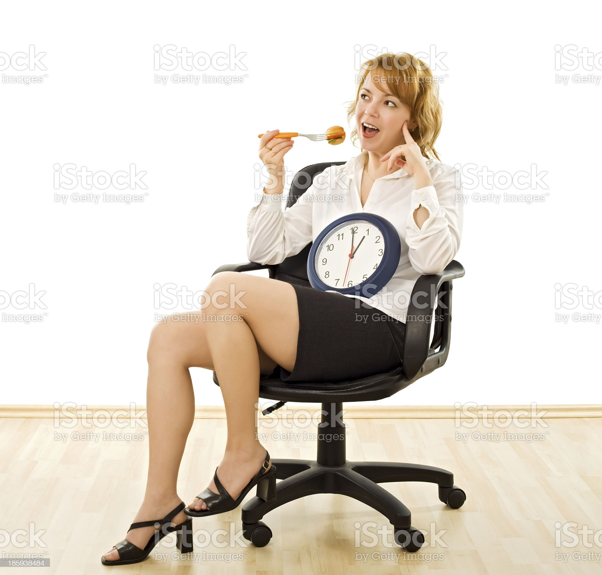 Happy woman in lunch-time royalty-free stock photo