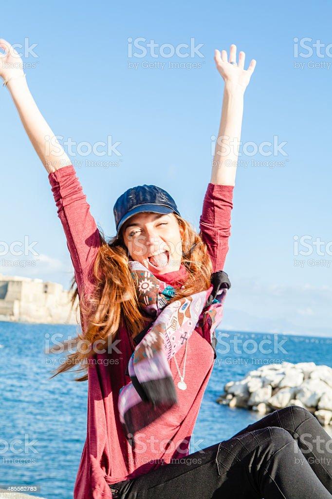 Happy Woman in Naples, Italy royalty-free stock photo