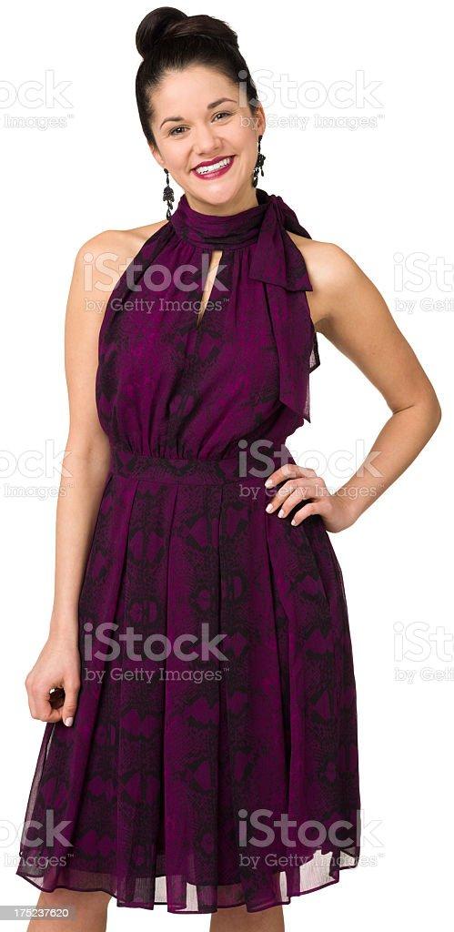 Happy Woman In Purple Dress royalty-free stock photo