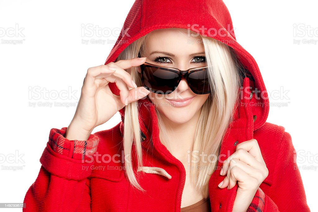 Happy Woman In Red Jacket stock photo