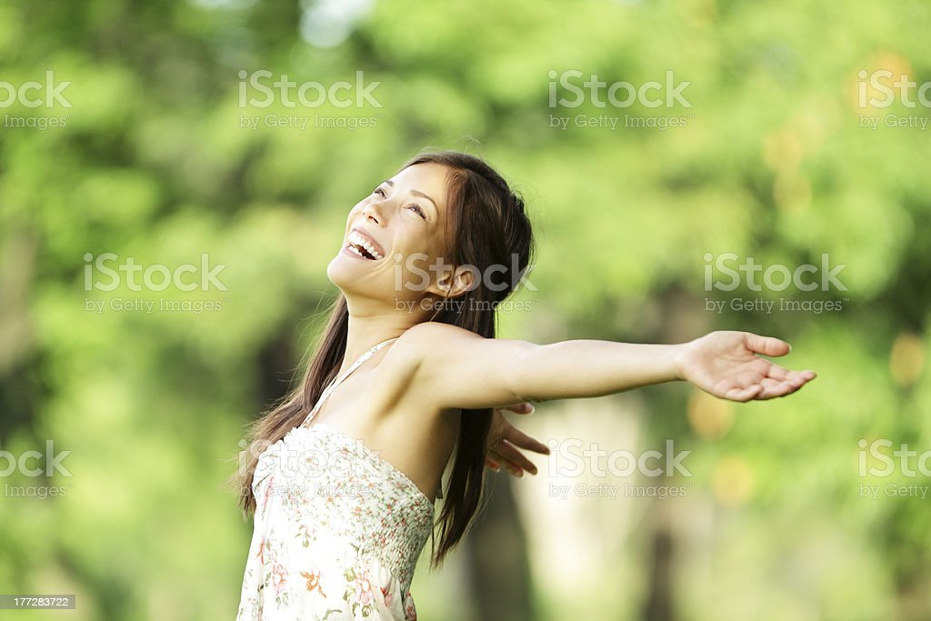 Happy woman in spring / summer royalty-free stock photo