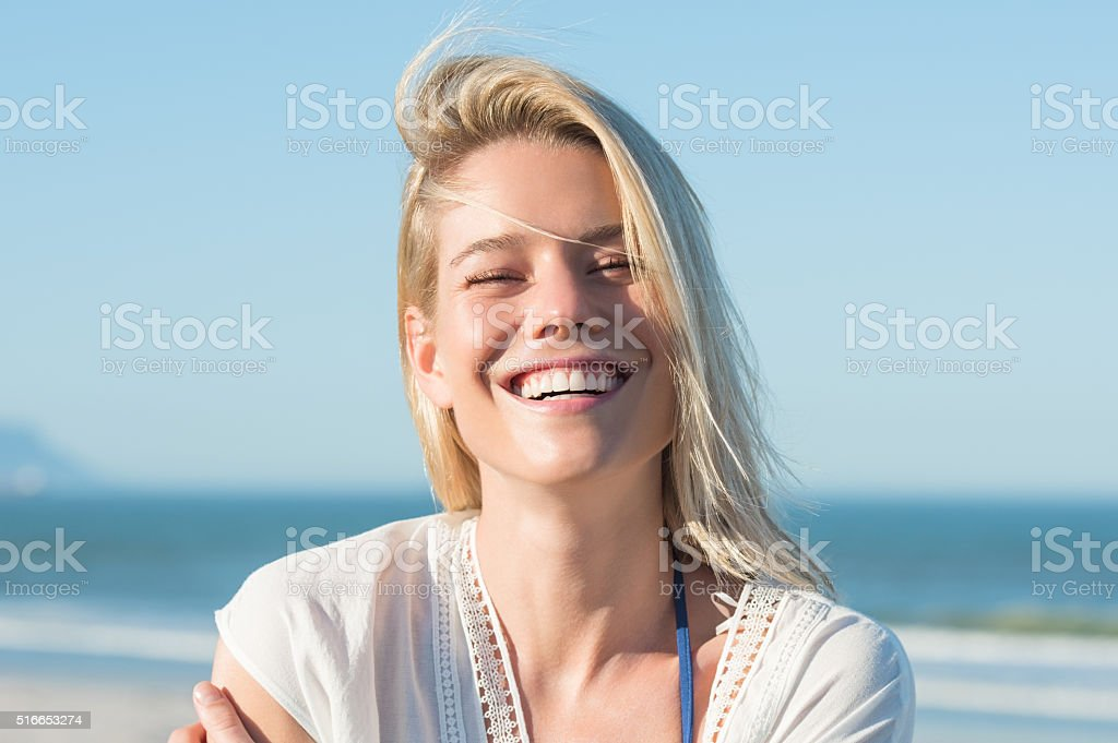 Happy woman in summer stock photo