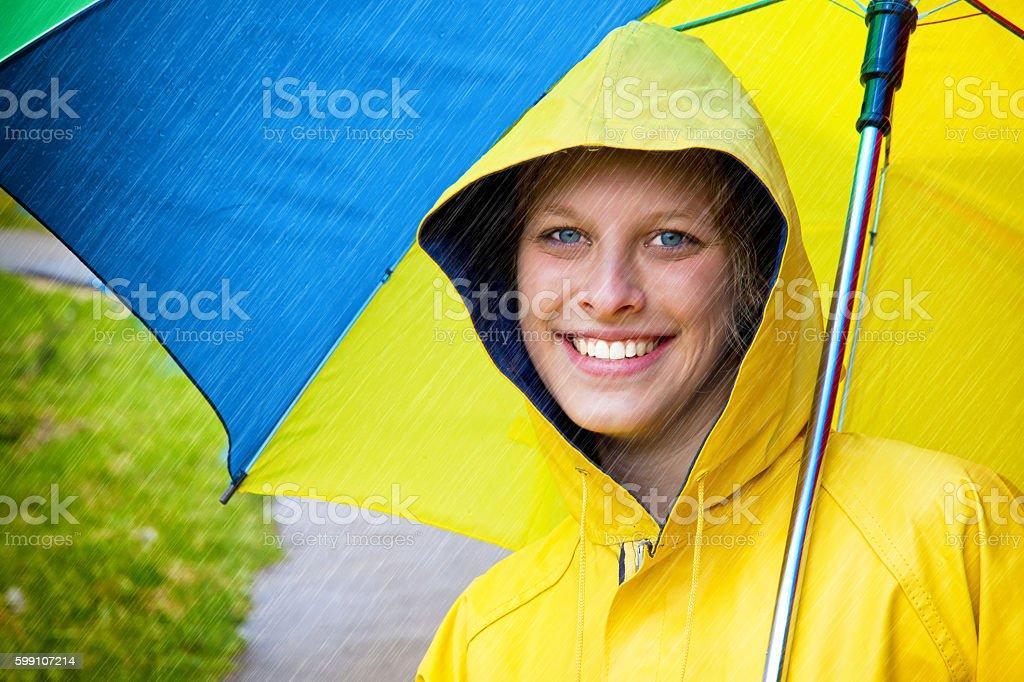 Happy woman in the rain stock photo
