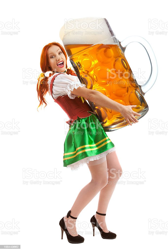 Happy Woman in Traditional Costume Holding a Huge Beer Glass.. stock photo