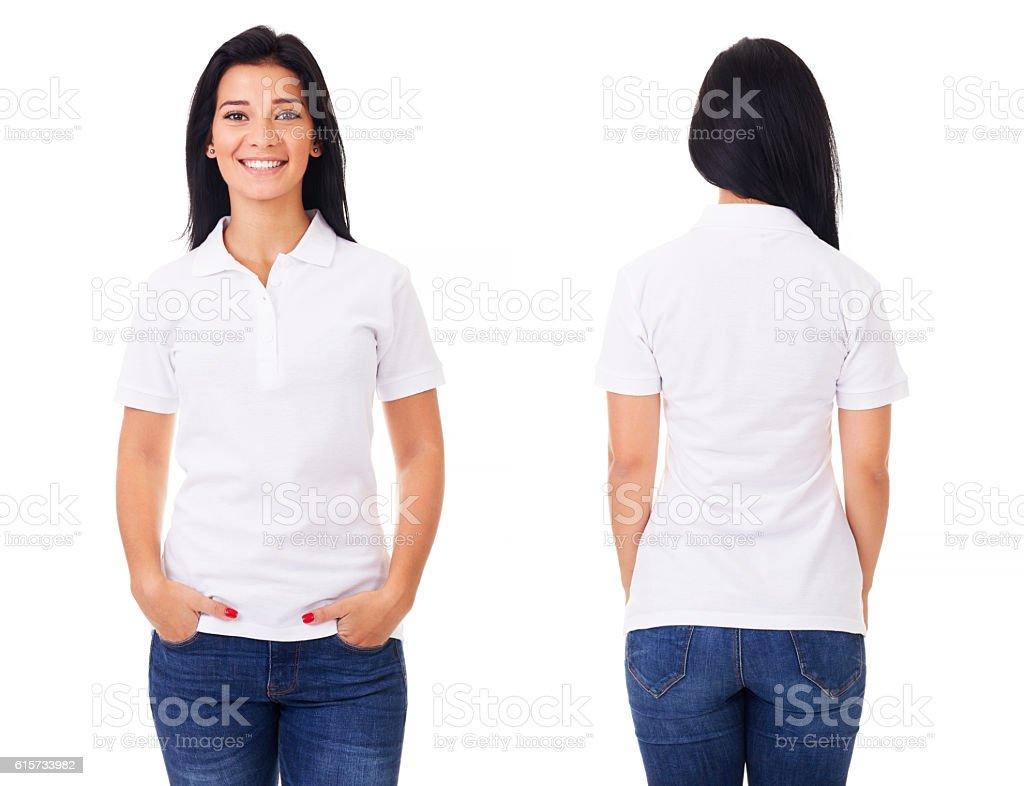 Happy woman in white polo shirt stock photo